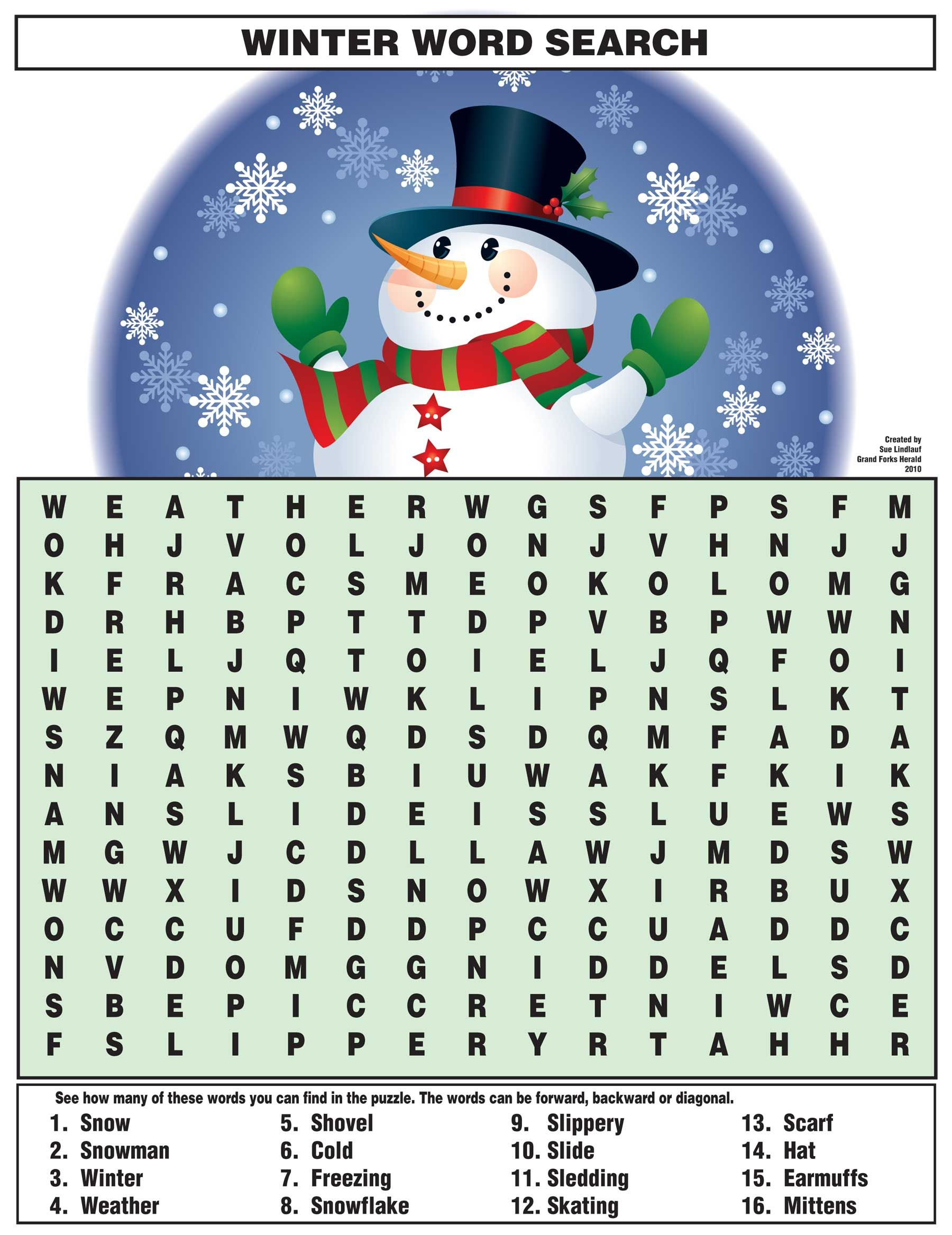 Winter Word Search S S Durban
