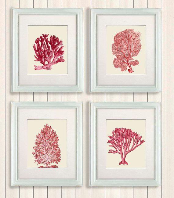 Set 4 Red Coral Art Prints Nautical Print