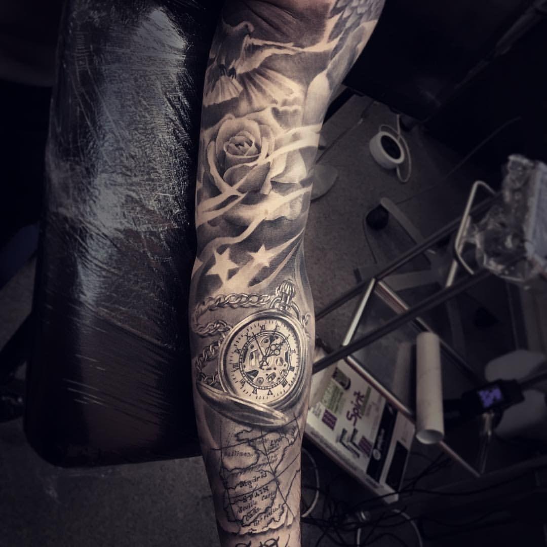 Sleeve Tattoo Stars Roses Dove Tattoos Sleeve Tattoos Tattoos