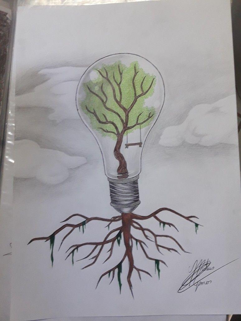 Desenho Tumblr Natureza Sustentavel Lampada Arvore Lampada