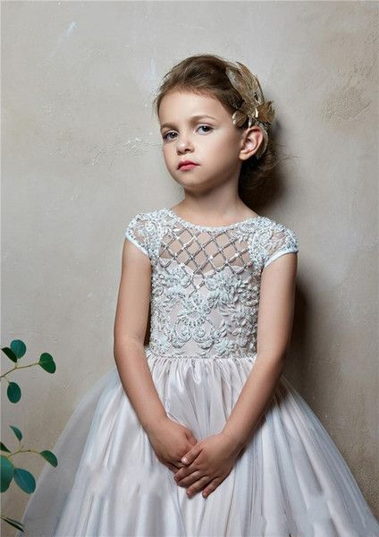 8e033bdf7eb 2019 Lovely A Line Flower Girls Dresses For Wedding Jewel Neck Short Cap  Sleeves Satin Lace