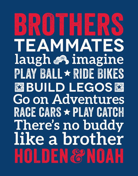 Brothers Wall Art, Boys Room Decor, Brother Wall Art, Brother Quotes ...