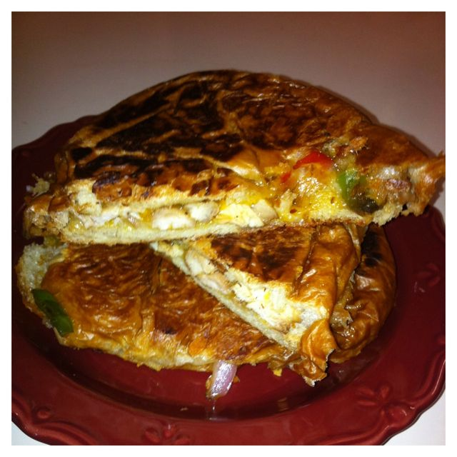 My lunch made dinner leftovers: Chicken Fajita Grilled Cheese