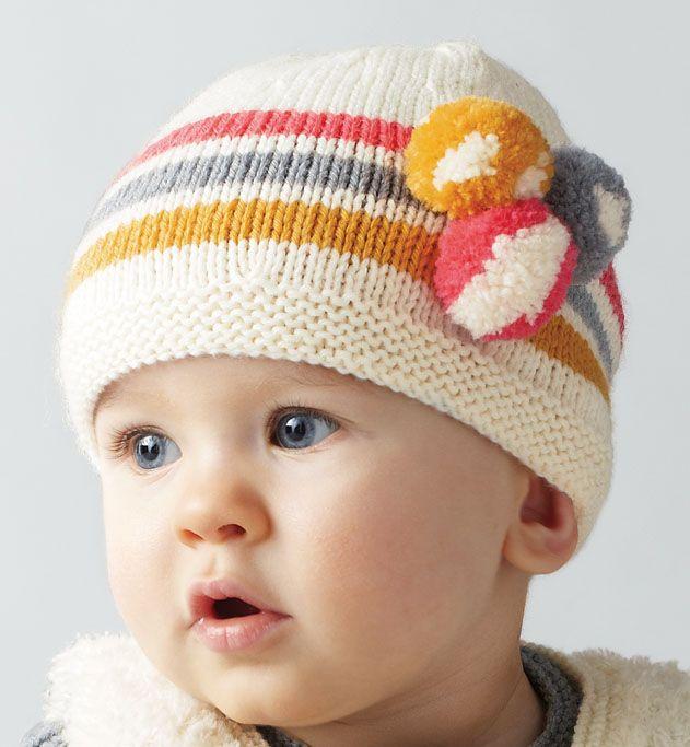 Modèle bonnet pompons bébé - Modèles Layette - Phildar   tricot bebe ... d3e31f12cae