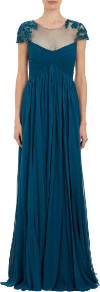 Monique Lhuillier Sequin Lace Capsleeve Gown in Blue - Lyst   :jaglady
