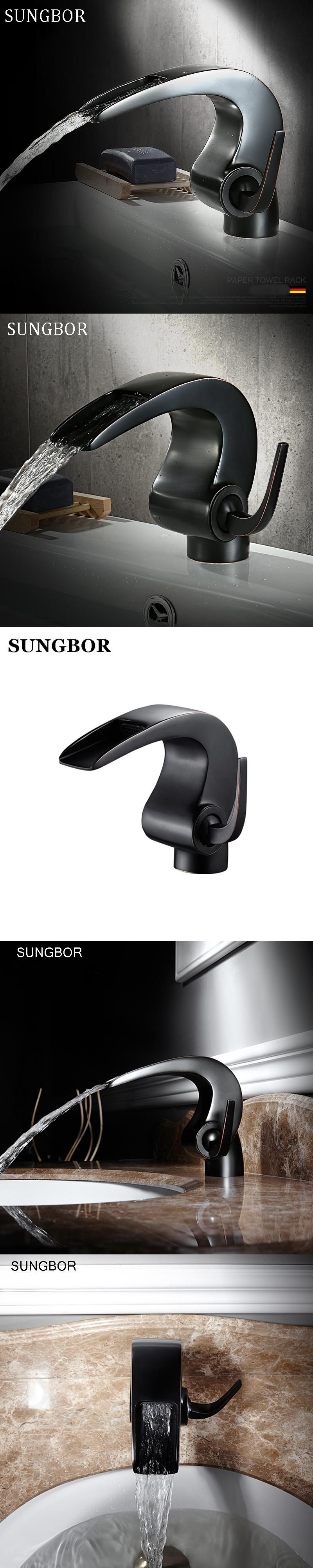 Free shipping Black bathroom Waterfall faucet Crane Bathroom basin ...