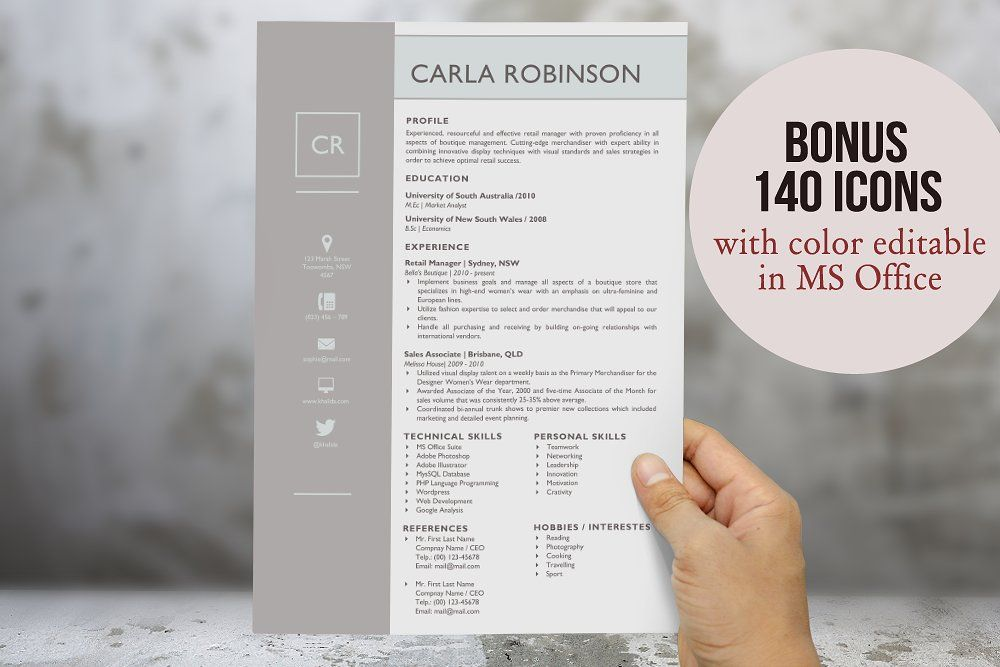 Elegant Resume Template for Word by Inkpower on @creativemarket - Retail Management Cover Letter