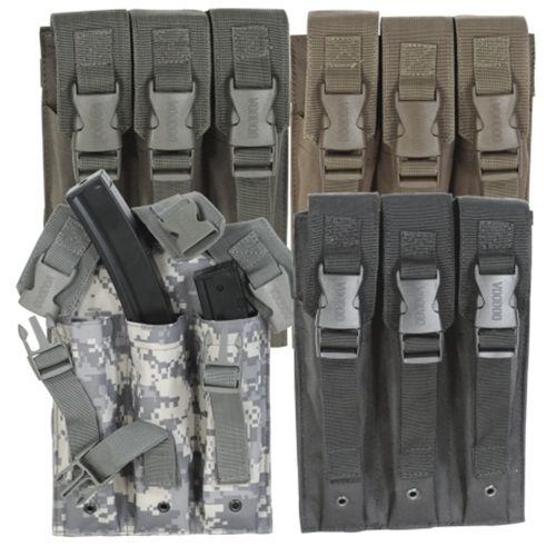 """The Triple MP5 mag pouch holds three 30-round MP5 magazines. Universal straps on back attach easily to your universal vest or drop leg platform.Dimensions: 6 7/8 """"L X 1¾""""W X 9¼""""H"""