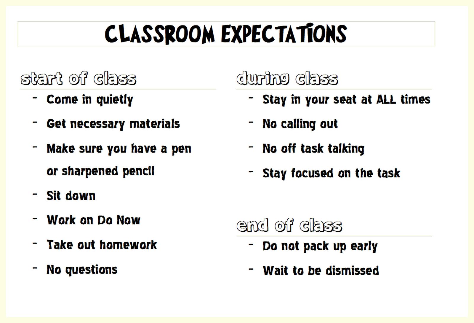 Printable Classroom Rules High School