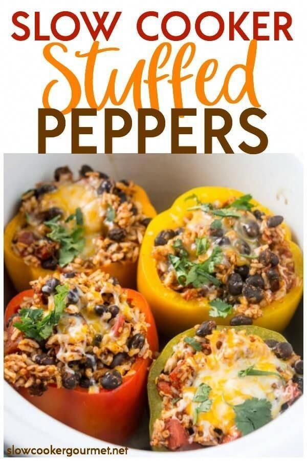 Slow Cooker Stuffed Peppers are a colorful and delicious way to eat healthy this summer and year round! Get your kids to eat their veggies with this fun and simple recipe that is like nature's meal bowl!