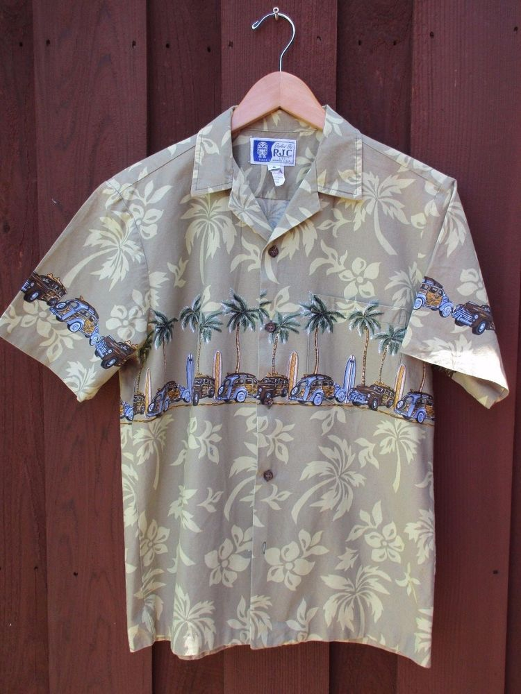 9d354bf0 Styled by RJC LTD. Khaki / Tan shirt with hibiscus print all over.  Horizontal pattern of surfboards, woodys & palm trees. Love this print!