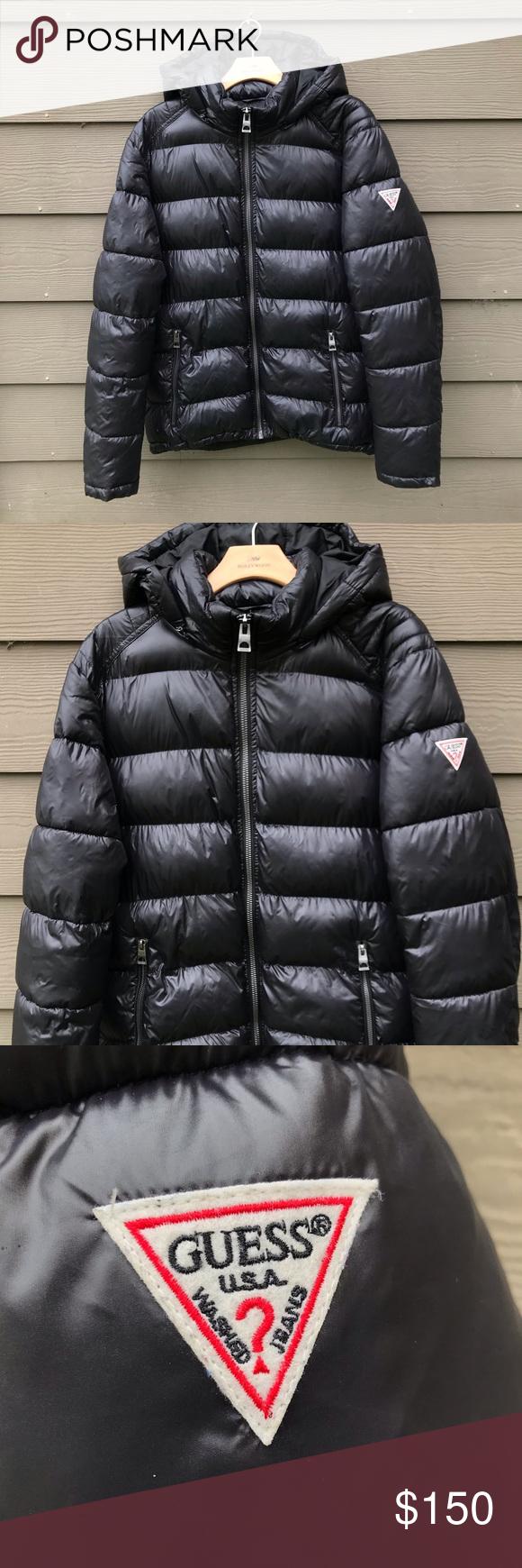 Men S Black Guess Puffer Jacket W Removable Hood Jackets Puffer Jackets Clothes Design [ 1740 x 580 Pixel ]