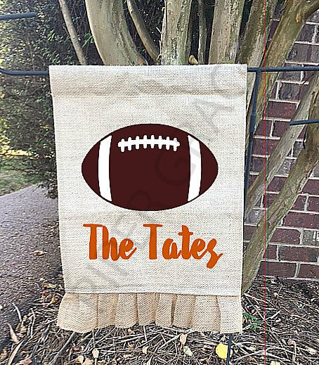 Football Burlap Garden Flag, Garden Decor, Garden Flag, Burlap Garden Flag, Yard…