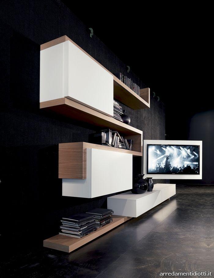 Soggiorno con porta tv orientabile Creative side - DIOTTI ...