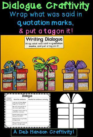 """Writing Dialogue Craftivity- """"Wrap what was said with quotation marks, and then put a tag on it.""""  Students write dialogue with tags at the the beginning, in the middle of the dialogue, and at the end.  Provides practice for punctuating all forms of dialogue. $"""