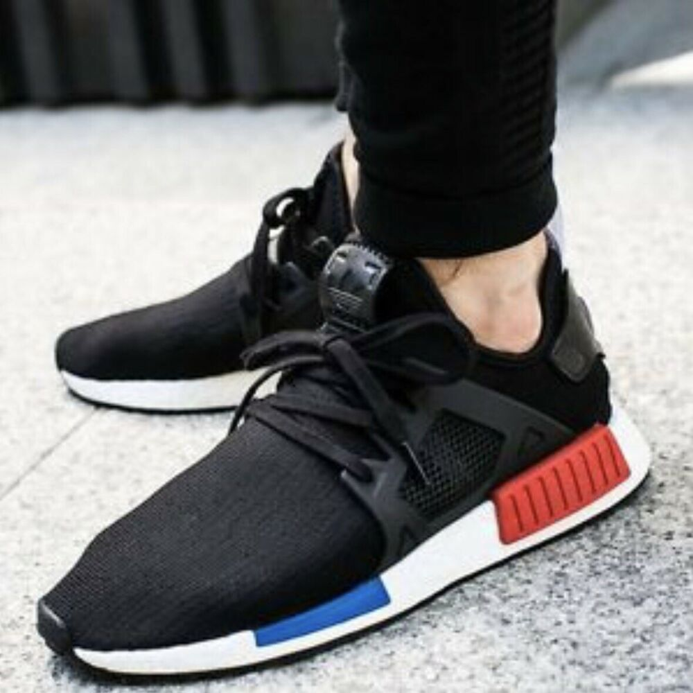 Adidas Nmd Xr 1 Pk Black Sneakers 10 5 Red Blue Lace Up Ebay