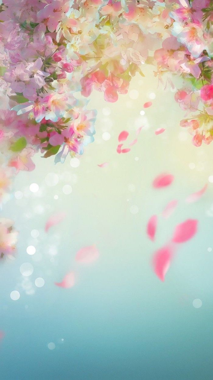 Spring Wallpaper Drawn Colourful Flower Blooms On A Blue Background Phone Wallpape Halloween Wallpaper Backgrounds Spring Wallpaper Cute Wallpaper For Phone