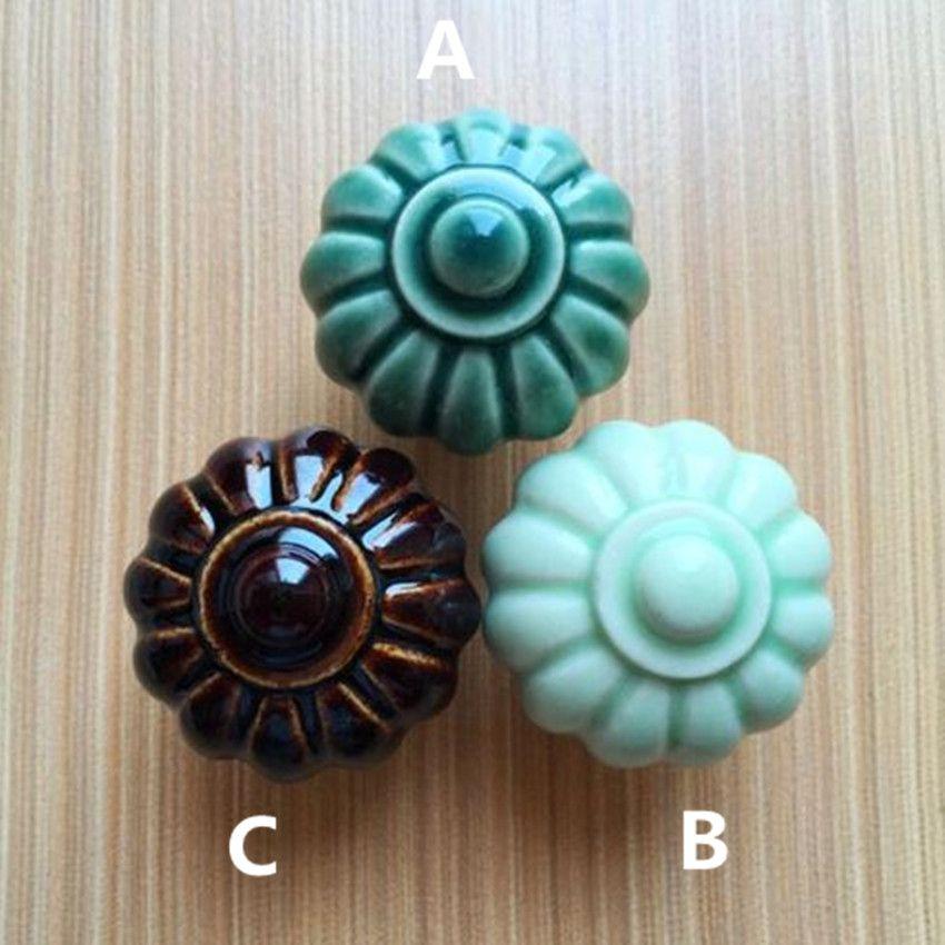 Rustico rural ceramic knobs light green pumpkin ceramic drawer ...