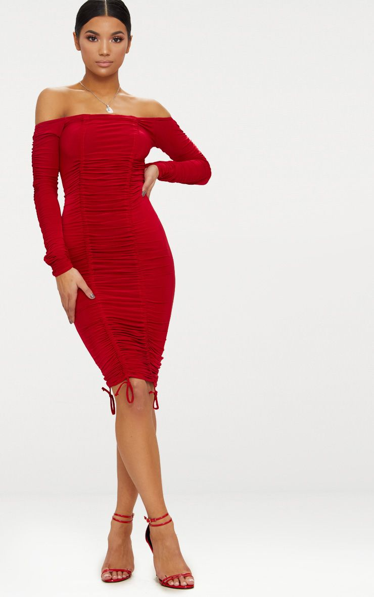 49++ Red ruched dress ideas