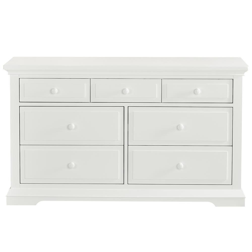 Evolur Parker Winter White Double Dresser 7 Drawer 843 W The Home Depot Double Dresser Wooden Drawer Pulls Wooden Drawers [ 1000 x 1000 Pixel ]