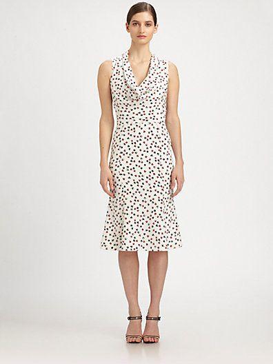 10ecad9111 Carolina Herrera Card Suit-Print Silk Crepe de Chine Dress....Vegas baby!