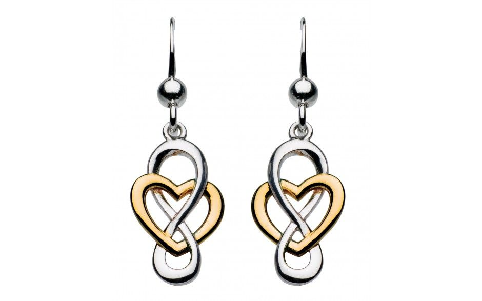 Sterling Silver And Gold Plate Heritage Celtic Looped Heart Earrings Item 6207gd015 Available To Order Heart Earrings Designer Silver Jewellery Earrings