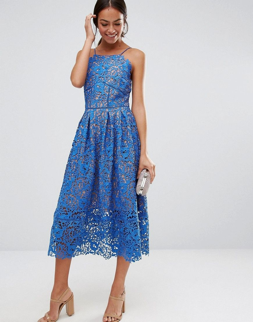 67e0c566636 Dresses for Weddings. Warehouse Lace Halter Midi Dress at asos.com