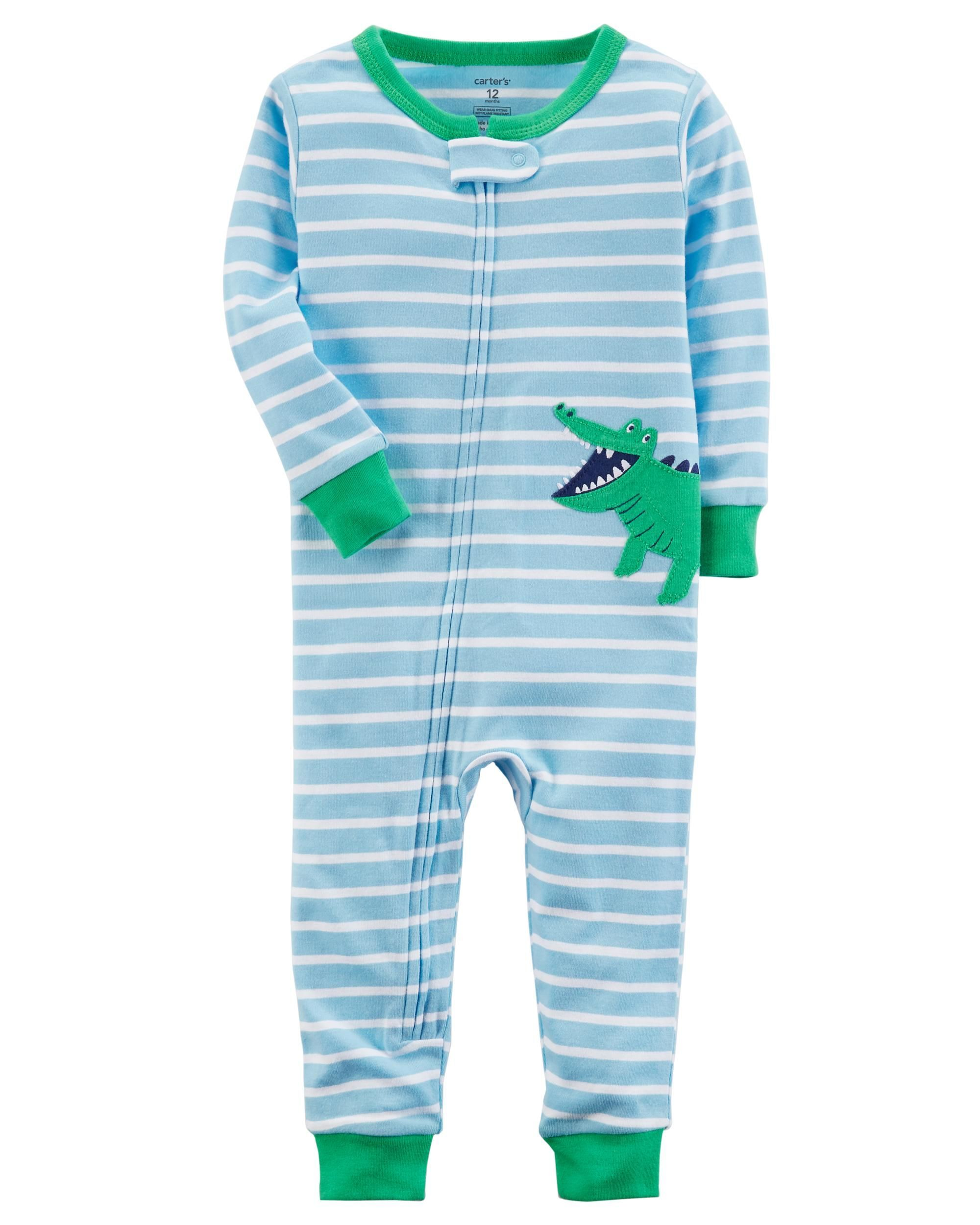 8b9b2d7bde23 1-Piece Alligator Snug Fit Cotton Footless PJs