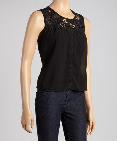 Love this Black Cutout Crisscross Tie Top on #zulily! #zulilyfinds