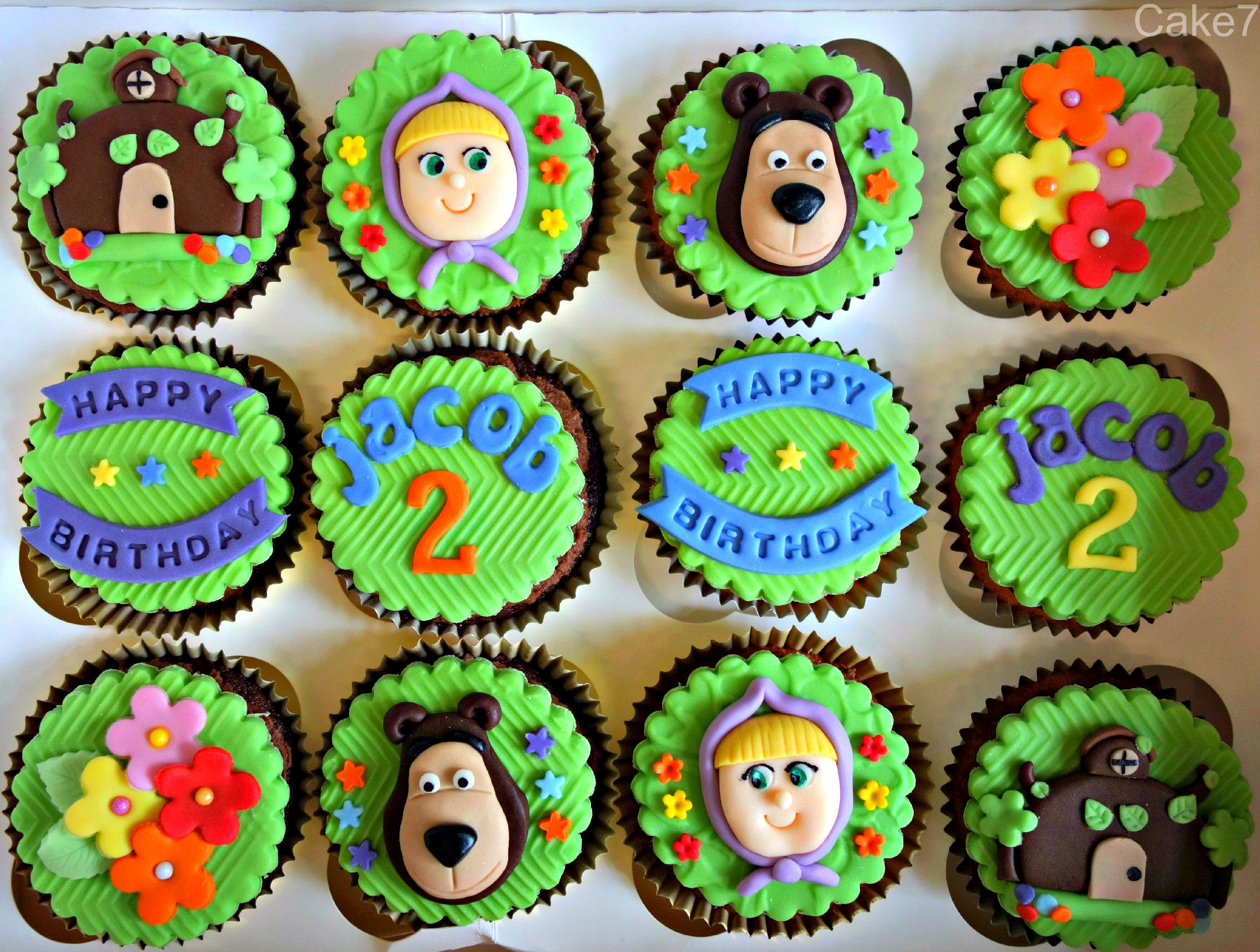 Masha & The Bear cupcakes. (Price from £12 for 12) www.cakeseven.wix... Facebook-Cake7. Twitter-Cake7 email: cake.seven@aol.co.uk phone: 07731 882 988
