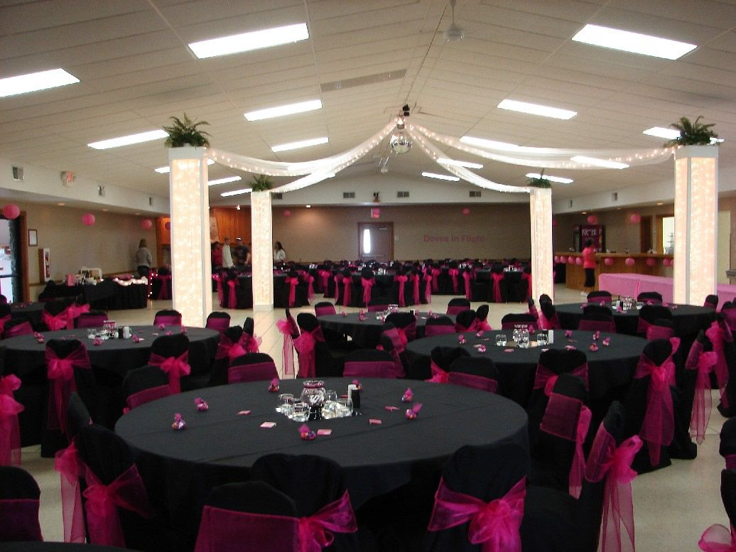 Weddings with black and fuschia colors hot pink black for Wedding banquet decorations