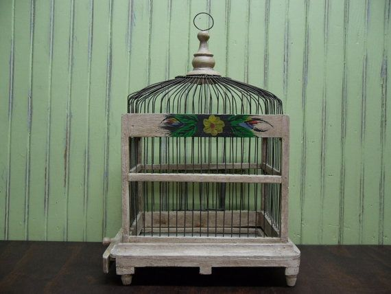 Hand Painted Wood and Wire Birdcage by hauteGREENhutch on