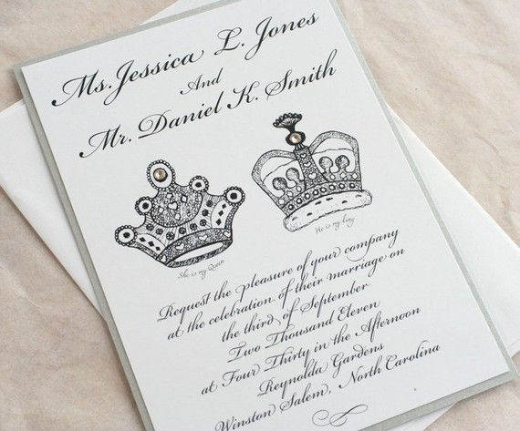 royal wedding invitation set king and queen black and silver, Wedding invitations