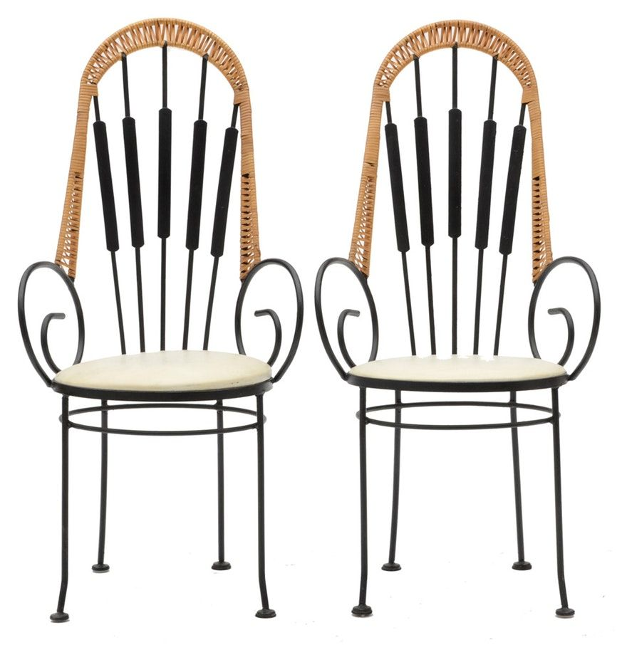 Mid Century Modern Arthur Umanoff Style Wrought Iron Cafe Chairs