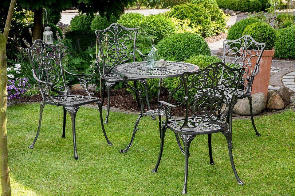 Merxx Gartenmobelset Lugano 5tlg 4 Sessel Tisch O 70 Cm