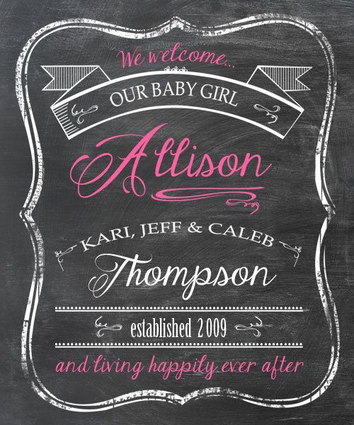 17 Best images about Baby chalkboards – Chalkboard Birth Announcement