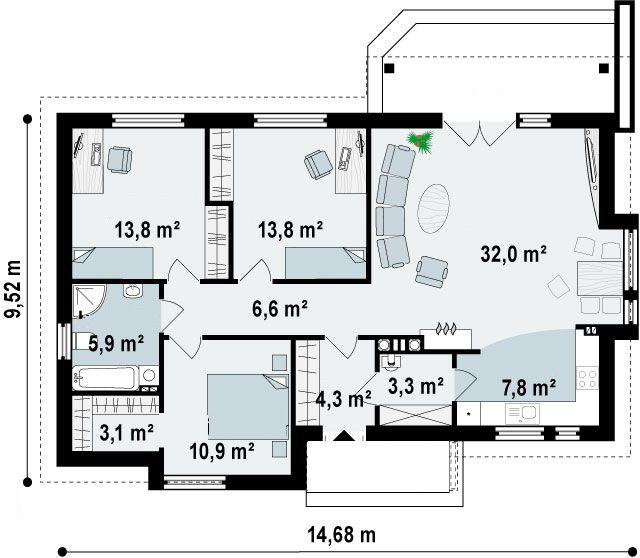 planos de casas una planta 3 habitaciones