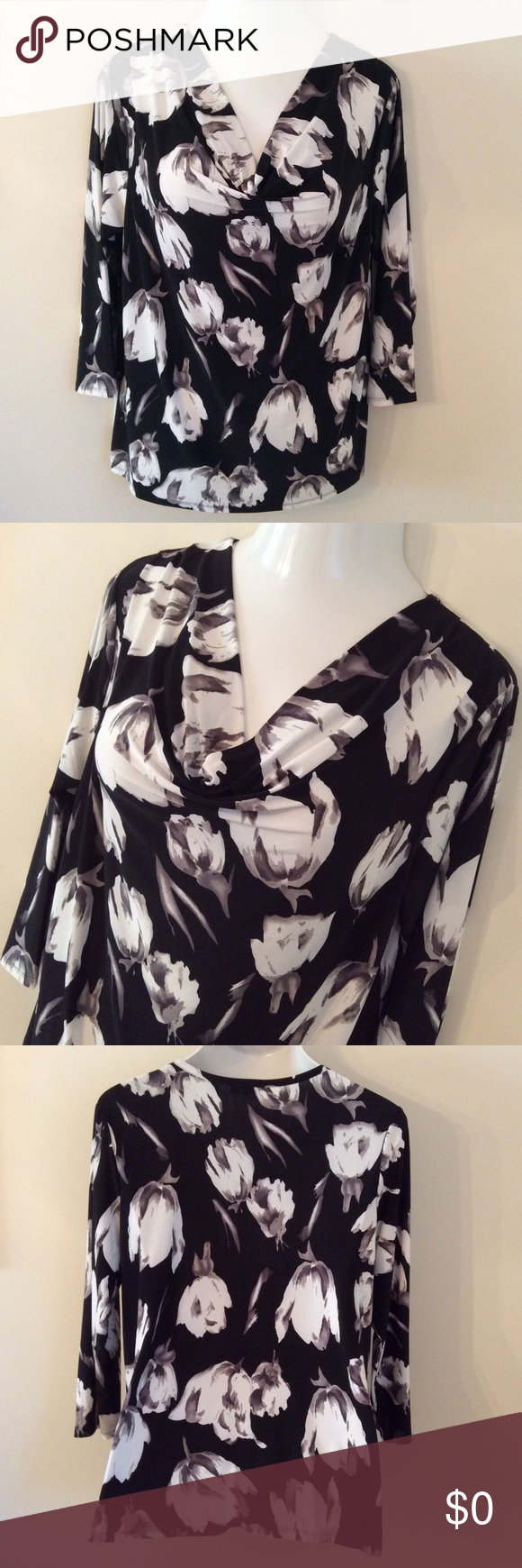 | classy floral drape neck pullover | Very Classy & Chic!  Black, White and Gray Floral (Drape Neck) Pullover. Material is 96% Polyester and 4% Spandex w/ 3/4 sleeves. Strazzi Tops Blouses