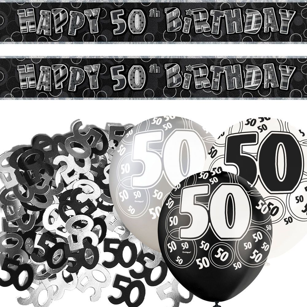Black Silver Glitz 50th Birthday Banner Party Decoration Pack Kit Set