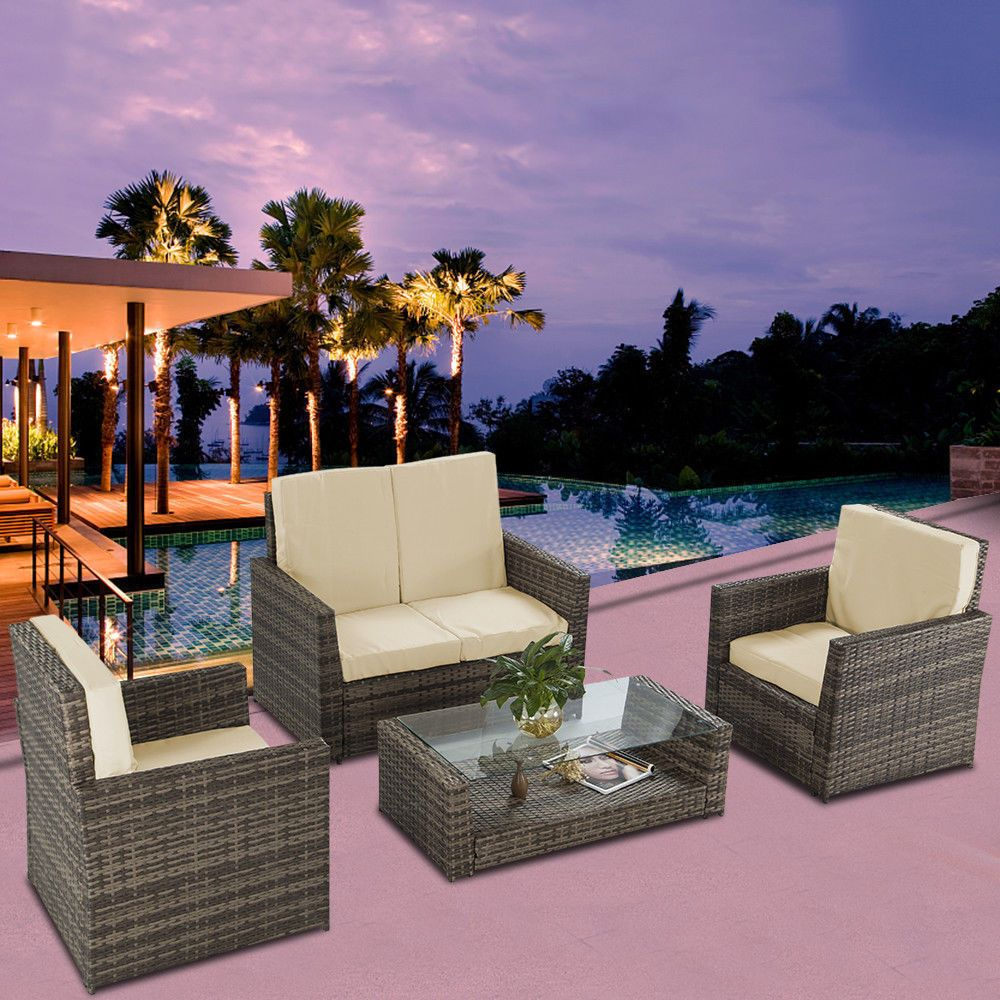 Pc outdoor patio rattan wicker furniture set table sofa cushioned
