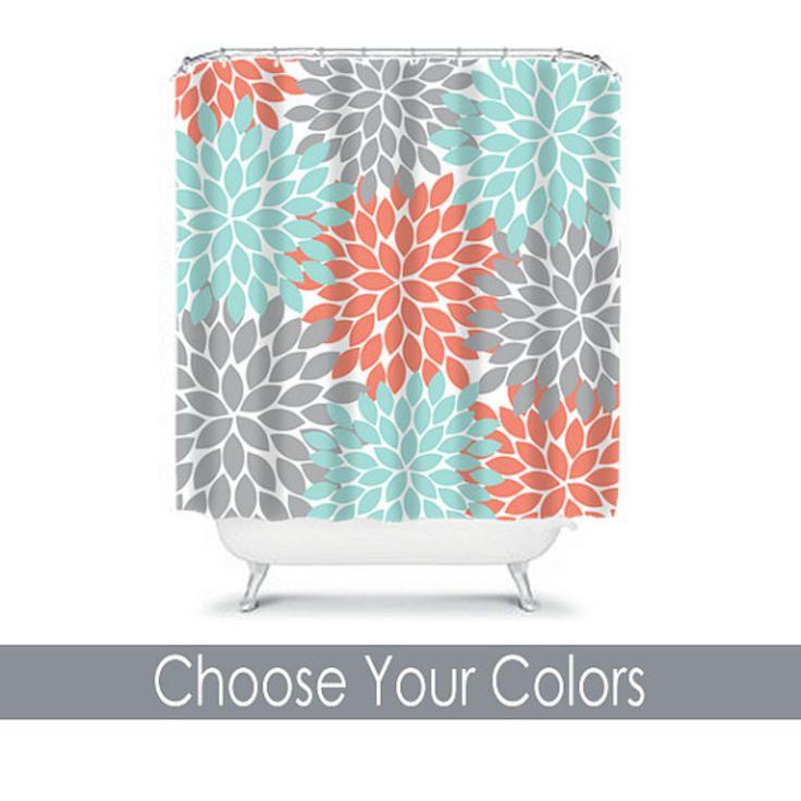 SHOWER CURTAIN Custom MONOGRAM Personalized Bathroom Decor Flower - Coral bath mat for bathroom decorating ideas