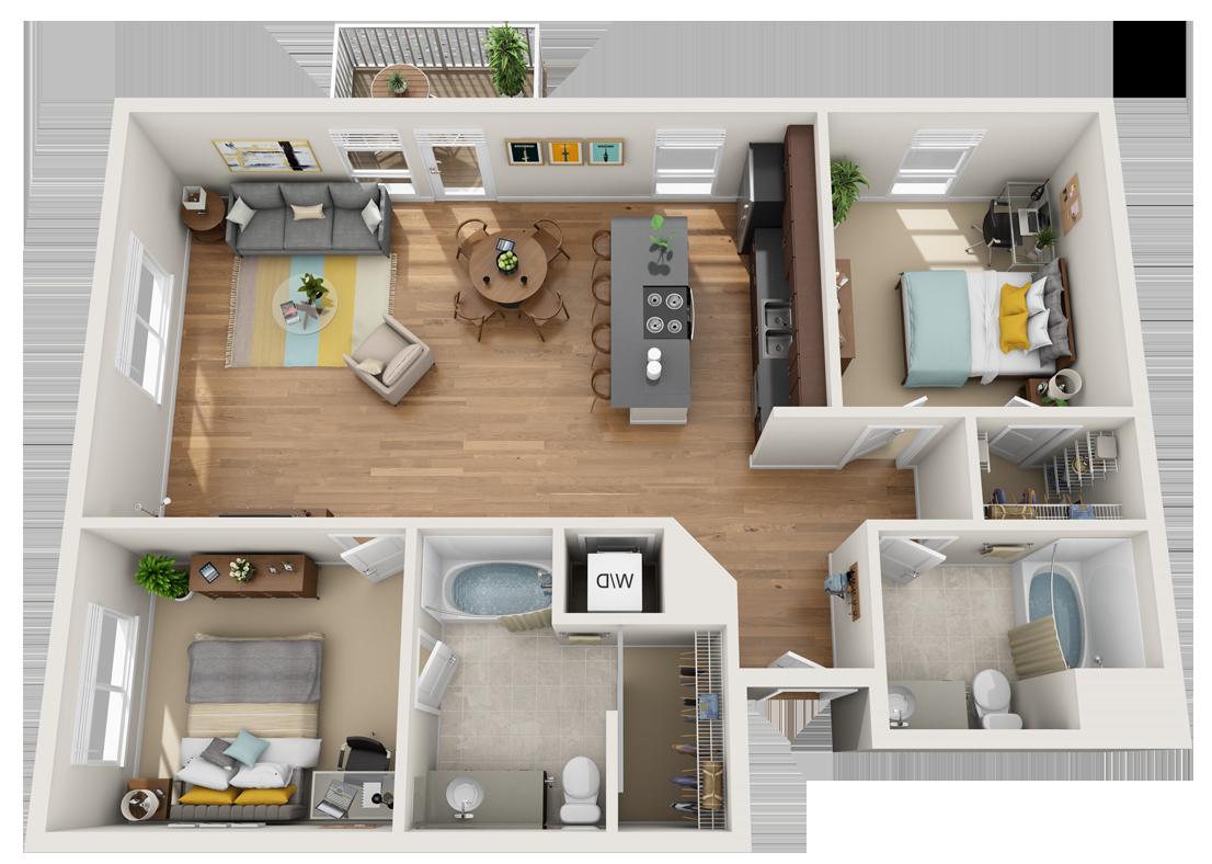 Two Bed/Two Bath 3D Floor Plan   #3D #3DRenderings ...
