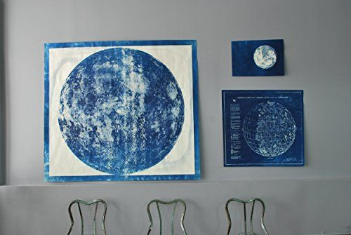 Large Lunar Map Cyanotype ** More info could be found at the image url.