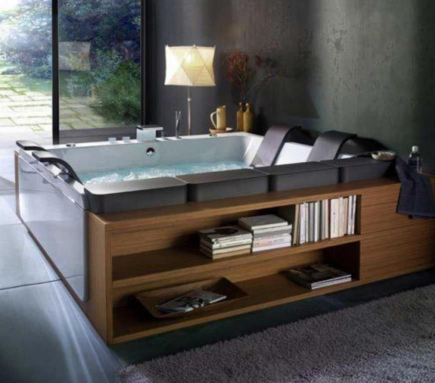 Indoor Jacuzzi Hot Tubs With Book Shelves Bathtubcorner Indoor Jacuzzi Bathtub Remodel Jacuzzi Hot Tub
