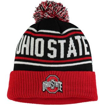 finest selection 77cd1 a1ec3 Ohio State Buckeyes Black Scarlet End Around Cuffed Knit Hat With Pom