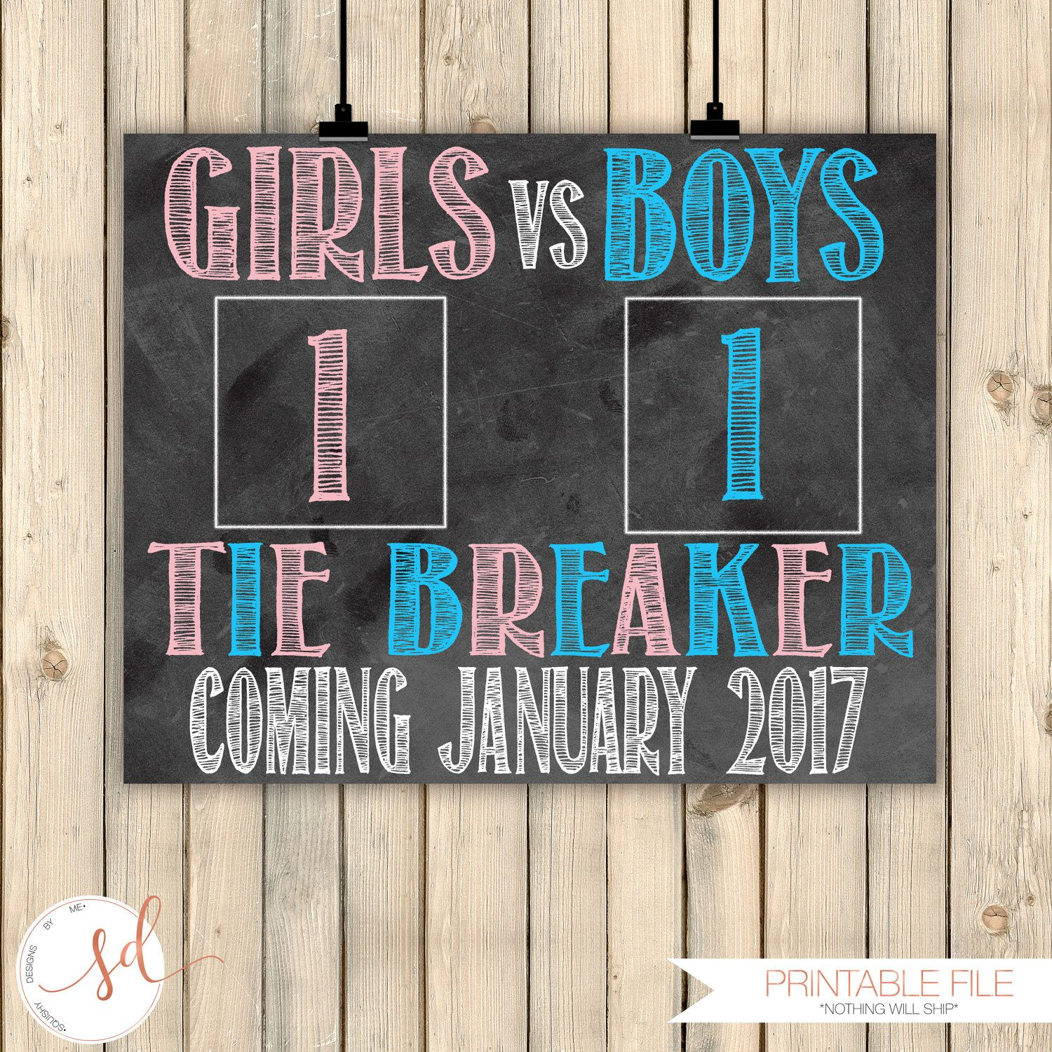 Tie Breaker Pregnancy Announcement Boys vs Girls New Baby Reveal – Baby Announcement Party