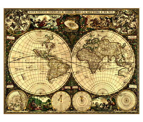 Colorful Fabrics Digitally Printed By Spoonflower Old World Map World Map Tapestry Old World Maps Antique World Map