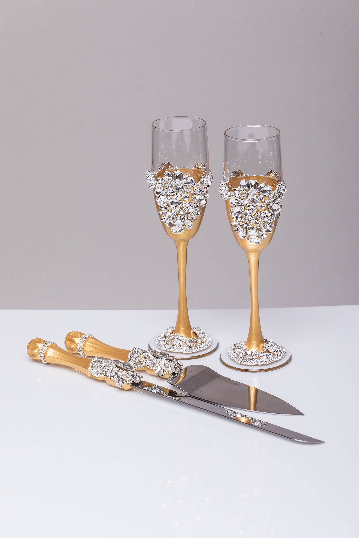 Wedding glasses and Cake Server Set gold and silver Wedding cake ...