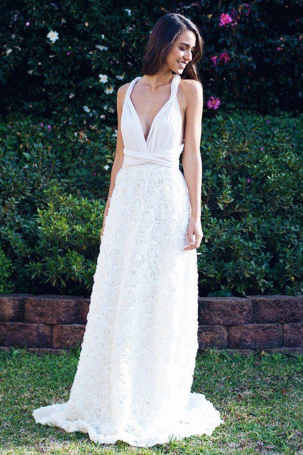 Detachable Rosette Overlay Skirt in Ivory Wedding dresses