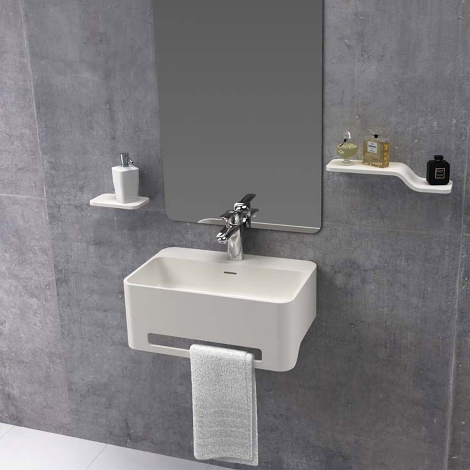 Mode Carpi 1 Tap Hole Solid Surface Stone Resin Wall Hung Basin 500mm Solid Surface Basin Trendy Bathroom